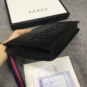 Ví nam Gucci siêu cấp cầm tay họa tiết chữ logo đen