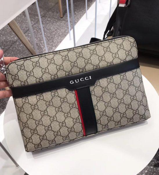 Ví nam Gucci siêu cấp cầm tay họa tiết kẻ đen