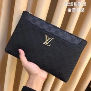 Ví nam Louis Vuitton siêu cấp cầm tay họa tiết caro đen