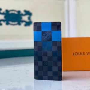 Ví nam Louis Vuitton like au gấp dài hoạ tiết caro vuông to xanh đen VNLV06