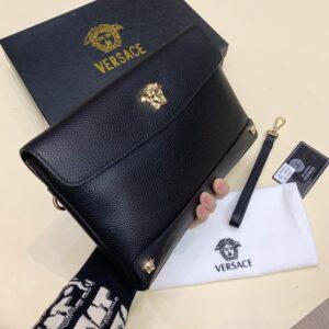Ví nam Versace siêu cấp cầm tay da nhăn họa tiết logo VNVS01