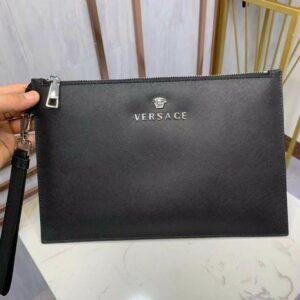 Ví nam Versace siêu cấp cầm tay da xước full đen VNVS11