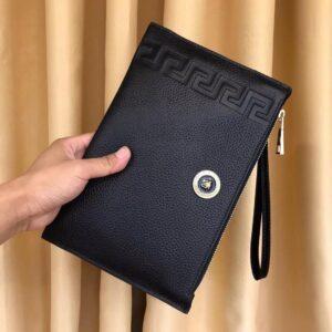 Ví nam Versace siêu cấp cầm tay họa tiết kẻ ngang VNVS10