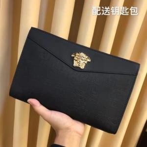 Ví nam Versace siêu cấp cầm tay họa tiết ô vuông logo