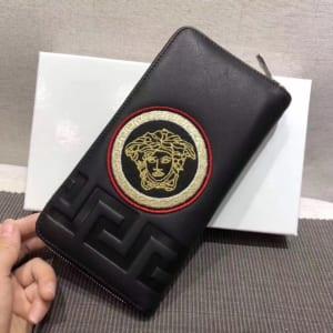 Ví nam Versace siêu cấp cầm tay họa tiết logo tròn