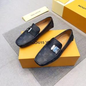 Giày lười Louis Vuitton siêu cấp da đen khóa lệch