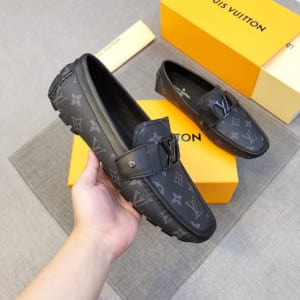 Giày lười Louis Vuitton siêu cấp họa tiết hoa màu đen