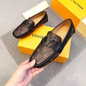 Giày lười Louis Vuitton siêu cấp họa tiết hoa nâu
