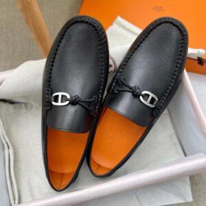 Giày lười Hermes like au da trơn họa tiết khóa lệch GLH18