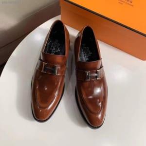 Giày lười Hermes siêu cấp họa tiết chữ H màu nâu GLHM13