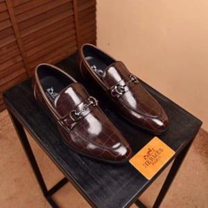 Giày lười Hermes siêu cấp họa tiết da bóng GLHM14