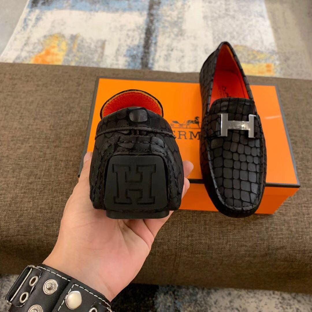 Giày lười Hermes siêu cấp họa tiết vẩy màu đen