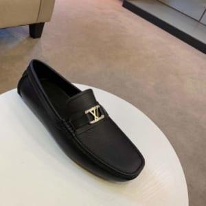Giày lười Louis Vuitton siêu cấp da nhăn màu đen GLLV51