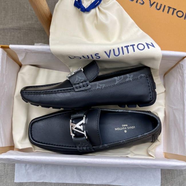 Giày nam Louis Vuitton like au da trơn viền hoa mũi vuông GLLV50