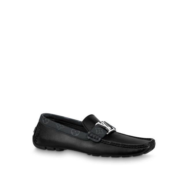 Giày lười Louis Vuitton like au da trơn viền hoa mũi vuông GNLV50