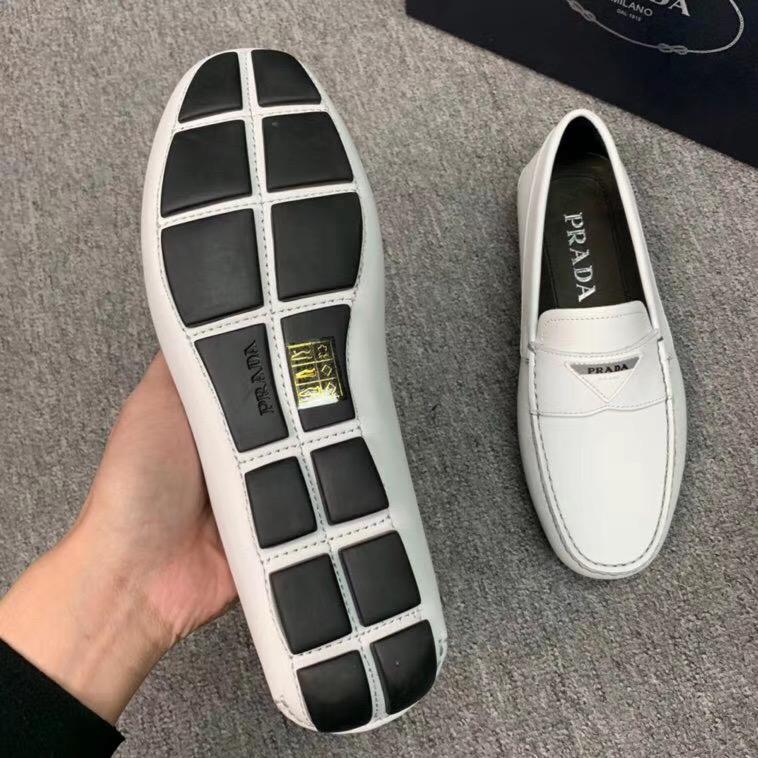 Giày lười Prada siêu cấp da trơn họa tiết logo màu trắng GLP36