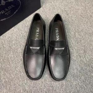 Giày lười Prada siêu cấp da trơn họa tiết logo tam giác GLP35