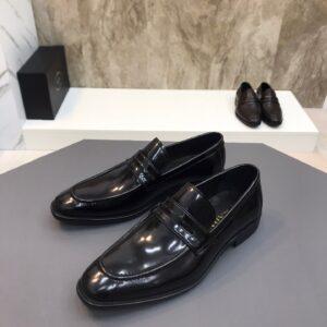 Giày lười Prada siêu cấp đế cao tag ẩn màu đen GLP30