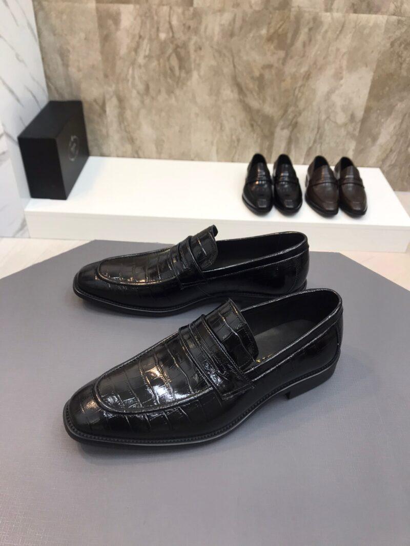Giày lười Prada siêu cấp đế cao vân da cá sấu màu đen GLP32