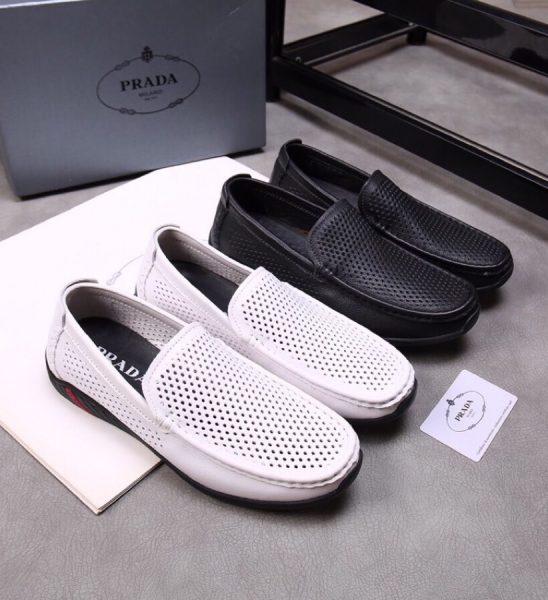 Giày lười Prada siêu cấp họa tiết lỗ GLP28