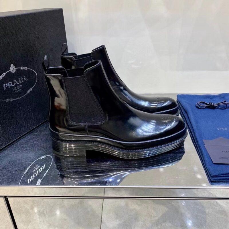 Giày lười Prada like au cao cổ da bóng màu đen GLP37