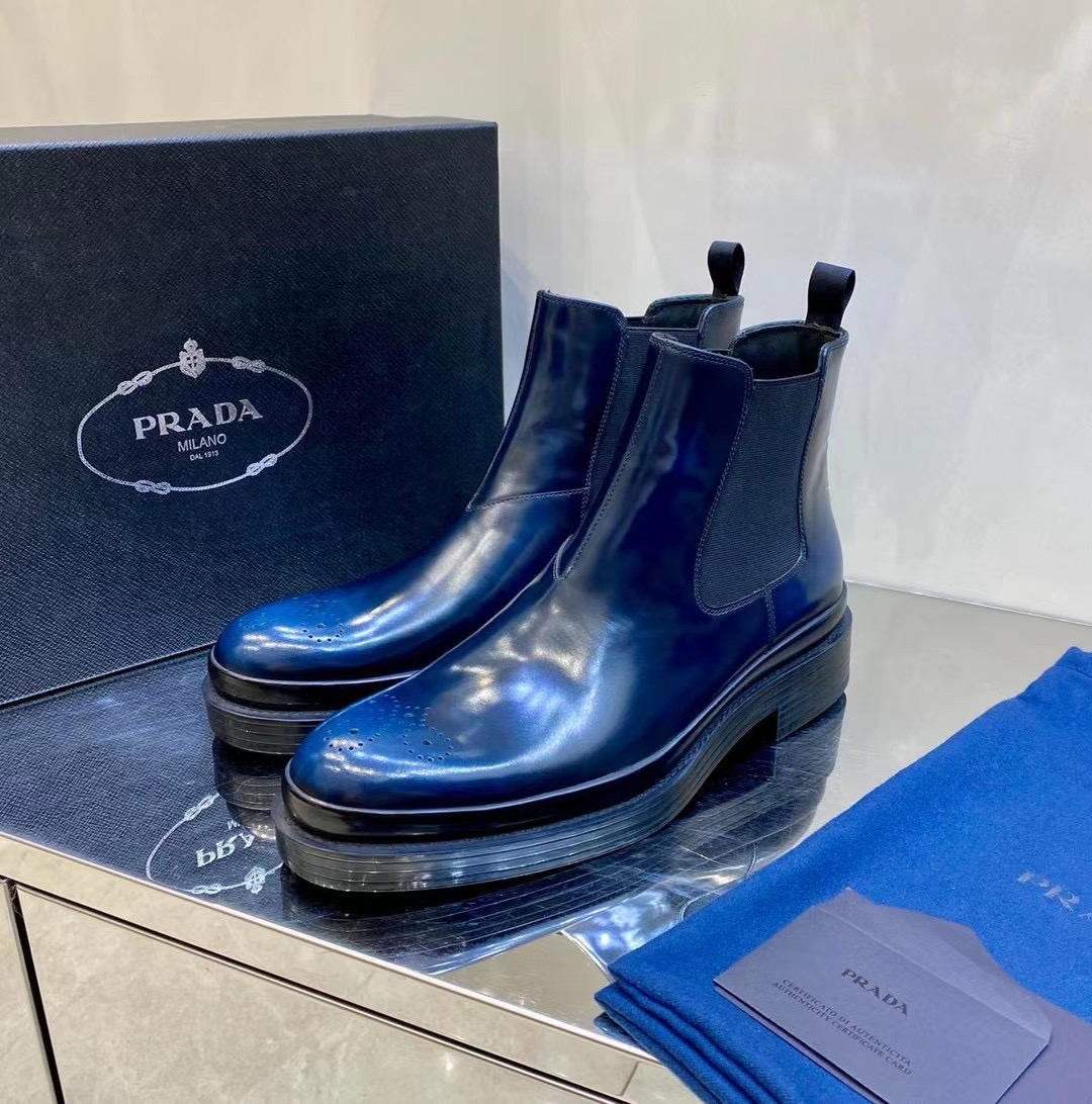 Giày lười Prada like au cao cổ da bóng màu xanh GLP38