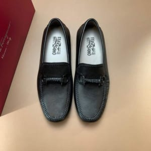 Giày lười Salvatore Ferragamo siêu cấp da mềm tag logo đen