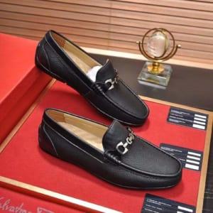 Giày lười Salvatore Ferragamo siêu cấp da nhăn đen