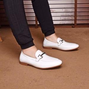 Giày lười Salvatore Ferragamo siêu cấp da nhăn màu trắng