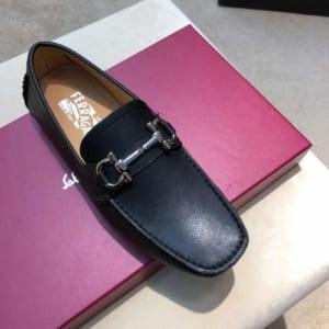 Giày lười Salvatore Ferragamo siêu cấp da trơn màu đen
