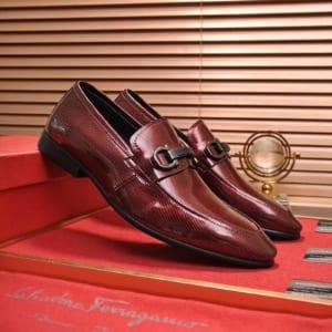 Giày lười Salvatore Ferragamo siêu cấp họa tiết kẻ màu đỏ mận