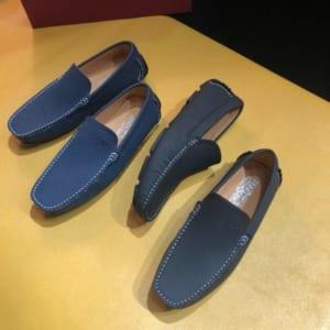 Giày lười Salvatore Ferragamo siêu cấp họa tiết viền chỉ trắng