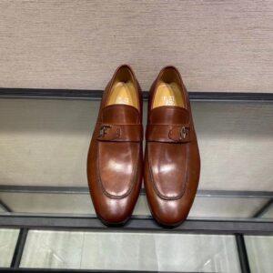 Giày lười Salvatore Ferragamo like au đế cao da trơn khoá logo lệch màu nâu GLSF16