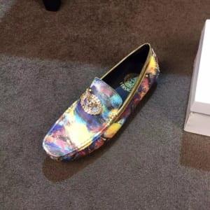 Giày lười Versace siêu cấp họa tiết logo màu xanh vàng