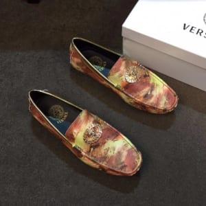 Giày lười Versace siêu cấp mặt khóa logo màu lửa