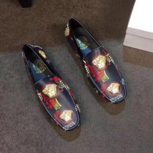 Giày lười Versace siêu cấp màu đen họa tiết hoa