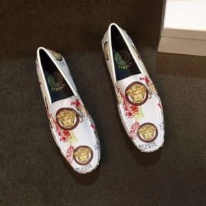 Giày lười Versace siêu cấp màu trắng họa tiết hoa đỏ