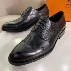 Giày nam Hermes siêu cấp họa tiết da rắn màu đen GNHM02