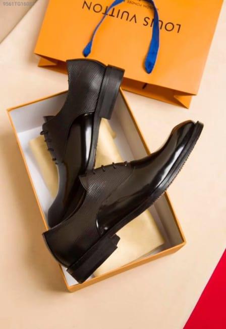 Giày nam Louis Vuitton siêu cấp cột dây da bóng sần