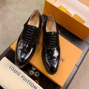 Giày nam Louis Vuitton siêu cấp họa tiết nhung màu đen GNLV61