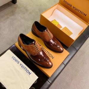 Giày nam Louis Vuitton siêu cấp họa tiết nhung màu nâu GNLV60