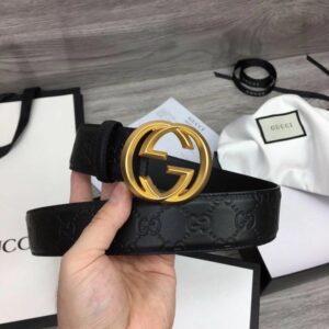 Thắt lưng nam Gucci siêu cấp họa tiết họa tiết logo vát cạnh TLGC61