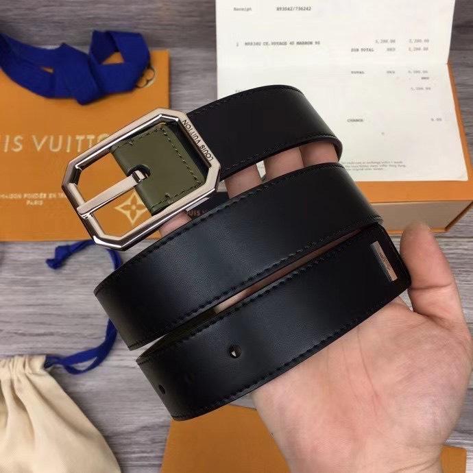 Thắt lưng nam Louis Vuitton like au da trơn hai mặt khóa kim TLLV37