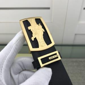 Thắt lưng nam Burberry siêu cấp da trơn khóa vuông vàng