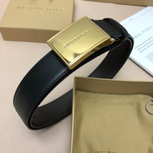 Thắt lưng nam Burberry siêu cấp dây đen khóa vàng họa tiết logo