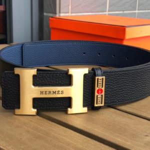 Thắt lưng nam Hermes siêu cấp da nhăn mặt khóa logo gold
