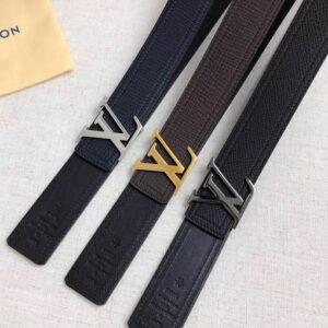 Thắt lưng nam Louis Vuitton siêu cấp dây đen mặt khóa logo