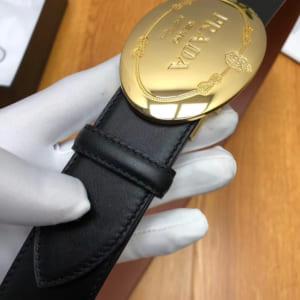 Thắt lưng nam Prada siêu cấp mặt gold hình elip