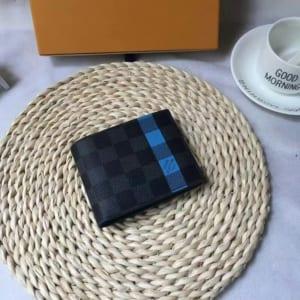 Ví nam Louis Vuitton siêu cấp họa tiết ô kẻ màu xanh VNLV23