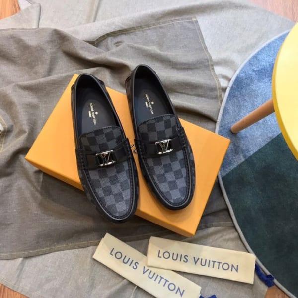 Giày lười Louis Vuitton họa tiết caro bản likeauth 1:1 GLLV17